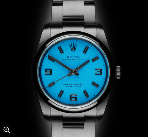 The Beach Collection: Neon Blue Titan Black DLC Rolex Oyster Perpetual